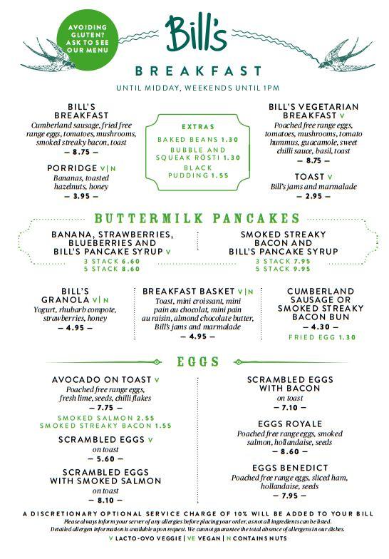 Bills menu